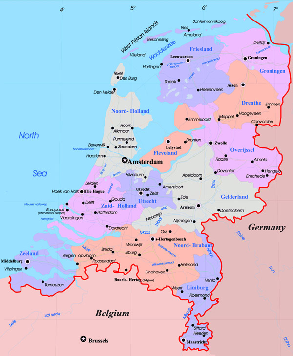 Large administrative map of Netherlands with major cities.