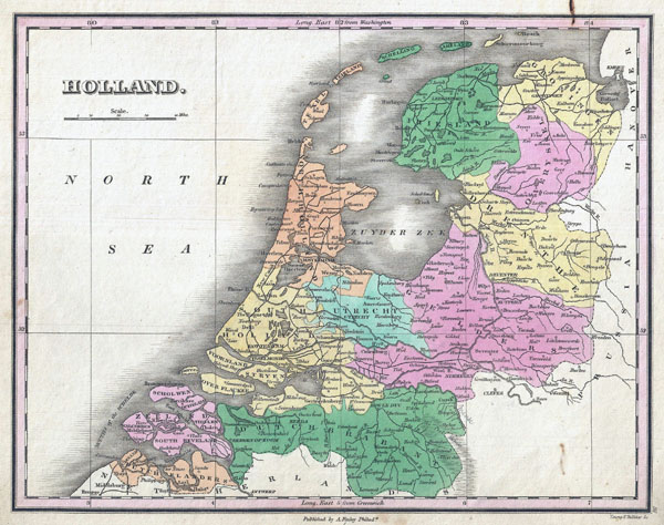 Large detailed old political and administrative map of Holland - 1827.