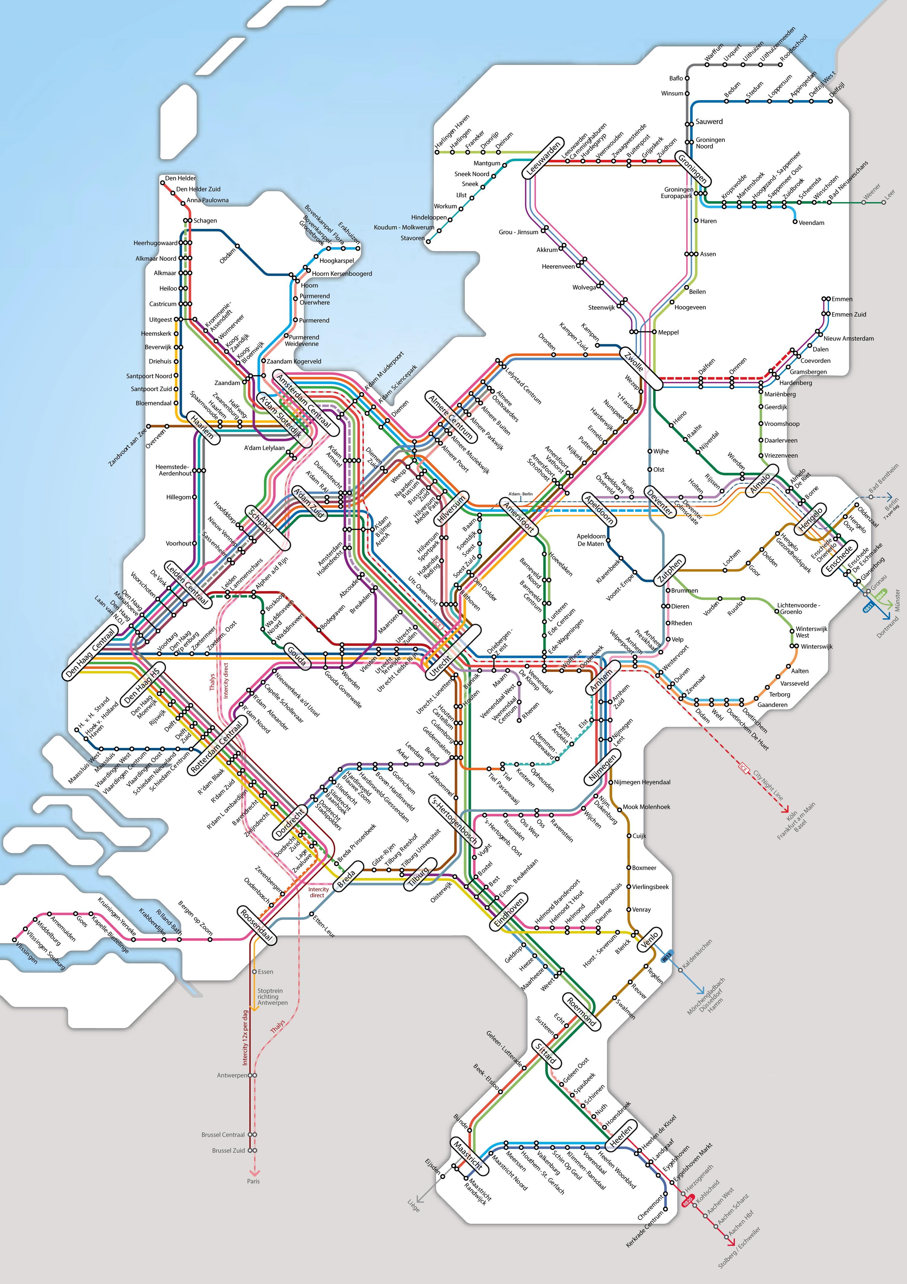 Large detailed rail network map of Netherlands   Vidiani.com   Maps ...