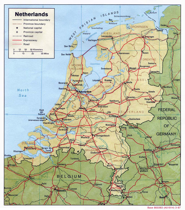 Large political and administrative map of Netherlands with relief, roads and major cities - 1987.