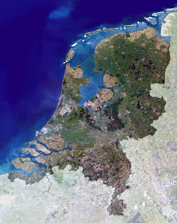 Netherlands (Holland) large satellite image. Large satellite map of Netherlands.