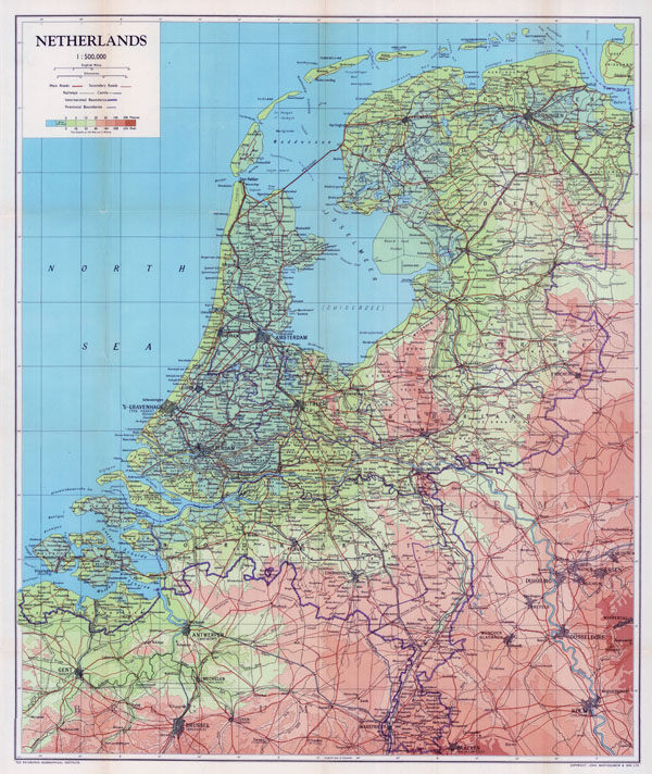 Large scale old physical map of Netherlands with all roads and cities - 1944.