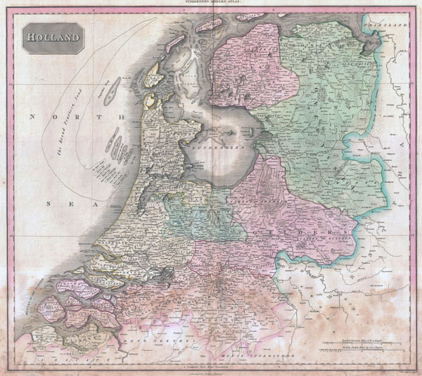 Large scale old political map of Holland - 1818.