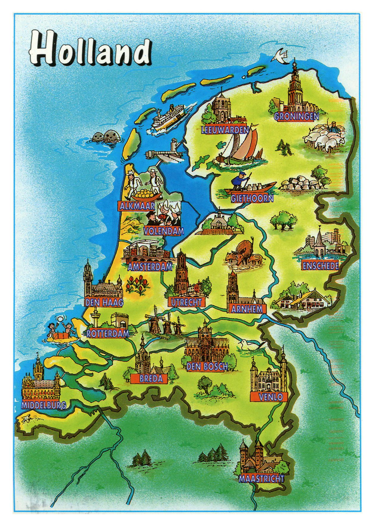 Large tourist illustrated map of Holland Vidianicom Maps of all
