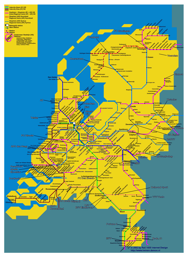 Large train map of Netherlands. Holland large train map.