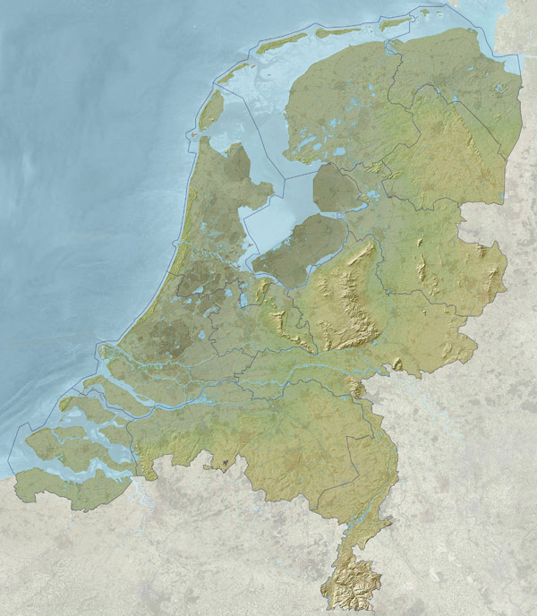 Relief map of Netherlands (Holland). Netherlands relief map.
