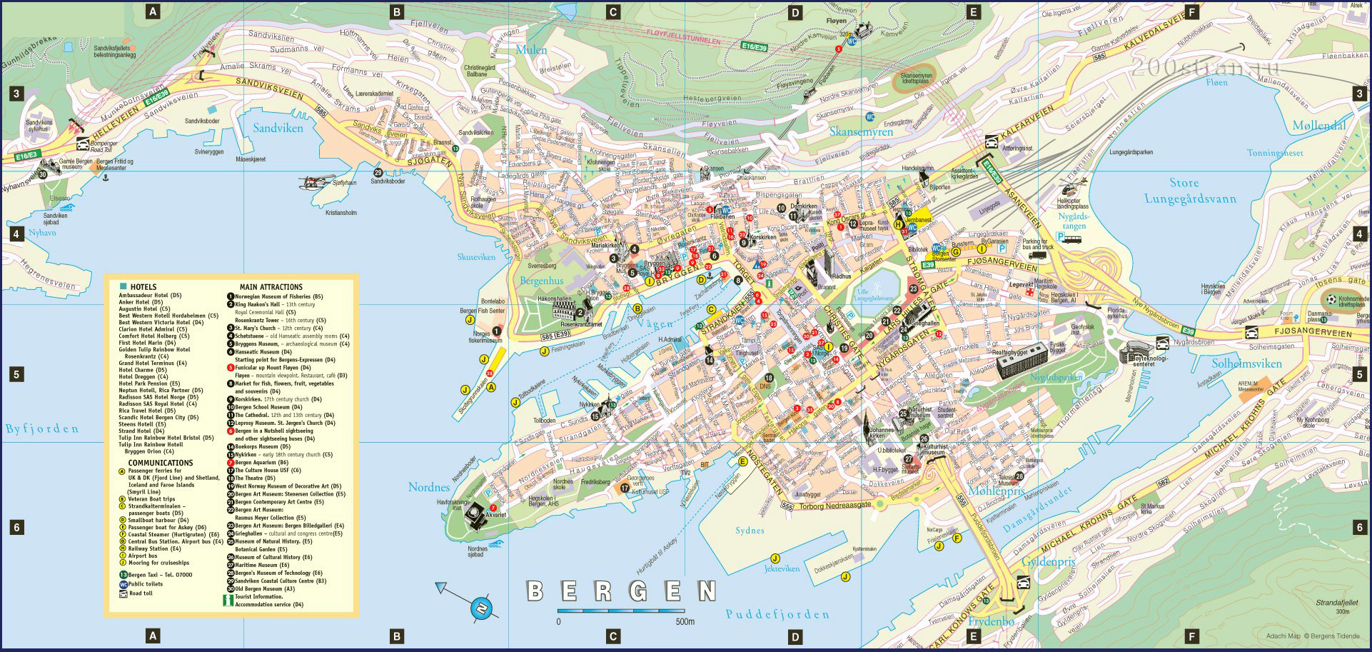 Detailed tourist map of Bergen city with hotels Bergen city
