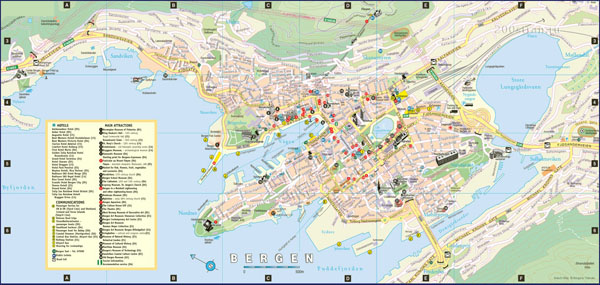 Detailed tourist map of Bergen city with hotels.
