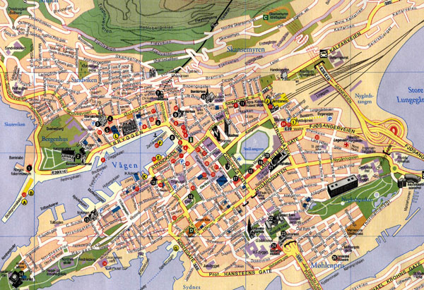 Roads map of central part of Bergen city, Norway. Bergen city central part roads map.