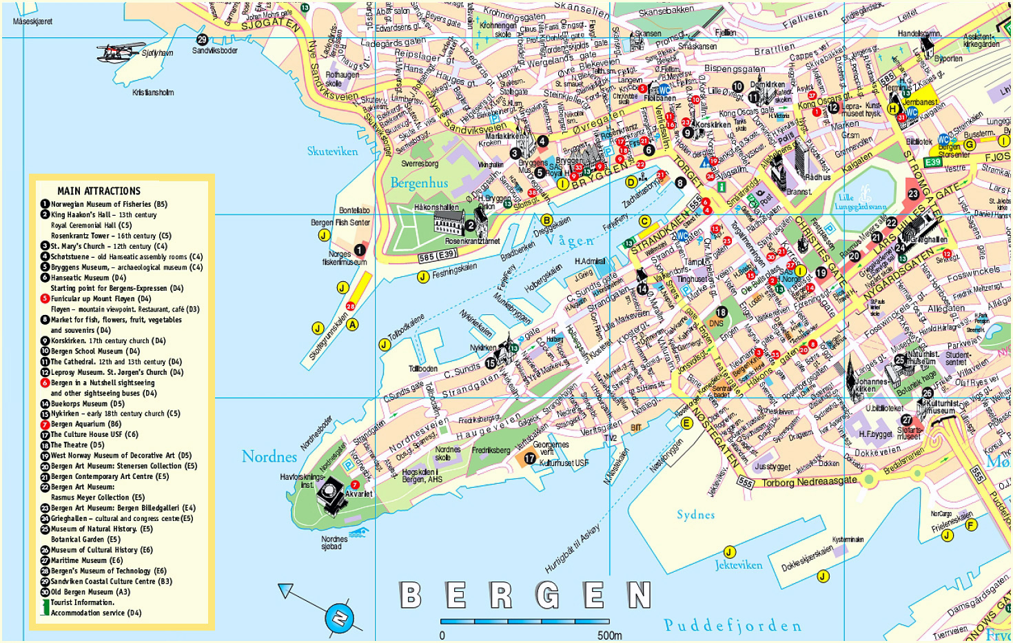 Detailed tourist map of Bergen city Norway Bergen city detailed