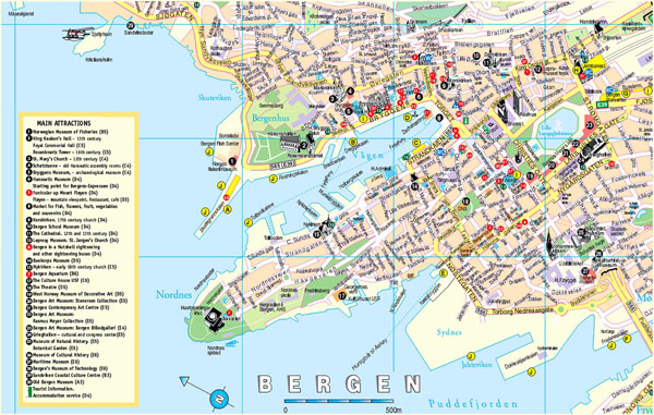 Detailed tourist map of Bergen city, Norway.