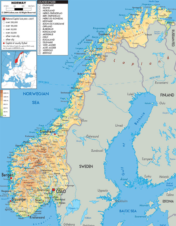 Large detailed physical map of Norway with all roads, cities and airports.