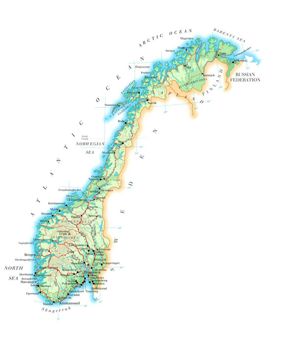 Large detailed physical map of Norway with roads, cities and airports.