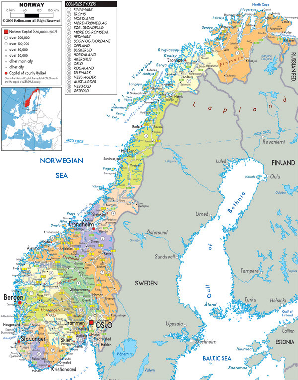 Large detailed political and administrative map of Norway with all roads, cities and airports.