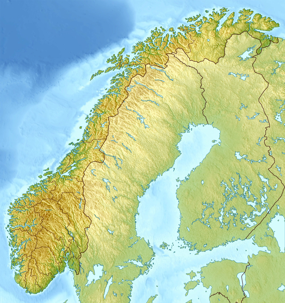 Large detailed relief map of Norway Norway large detailed relief