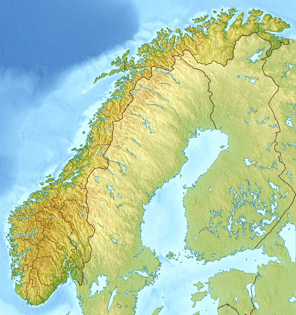Large detailed relief map of Norway. Norway large detailed relief map.