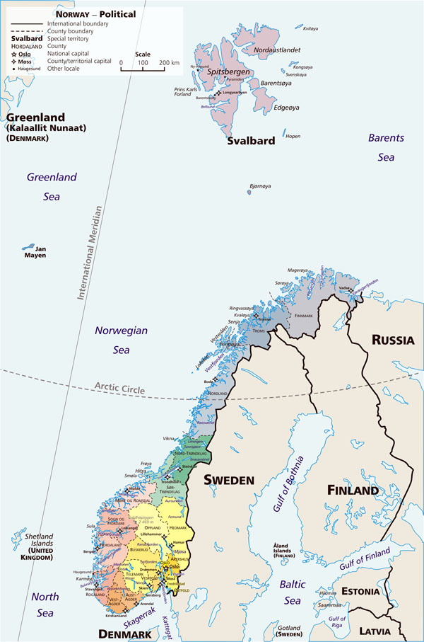 Large political map of Norway with administrative divisions.
