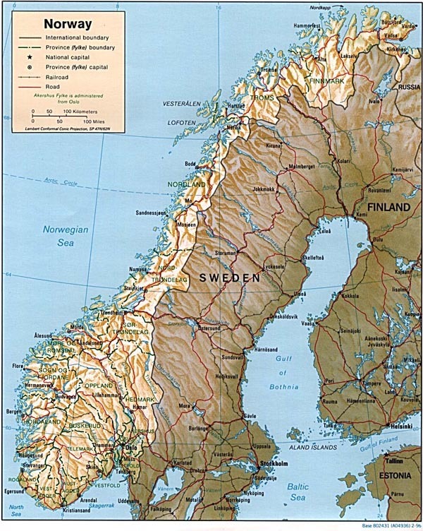 Large relief and administrative map of Norway.