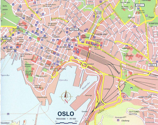 Large detailed map of Oslo city center. Oslo city center large detailed map.