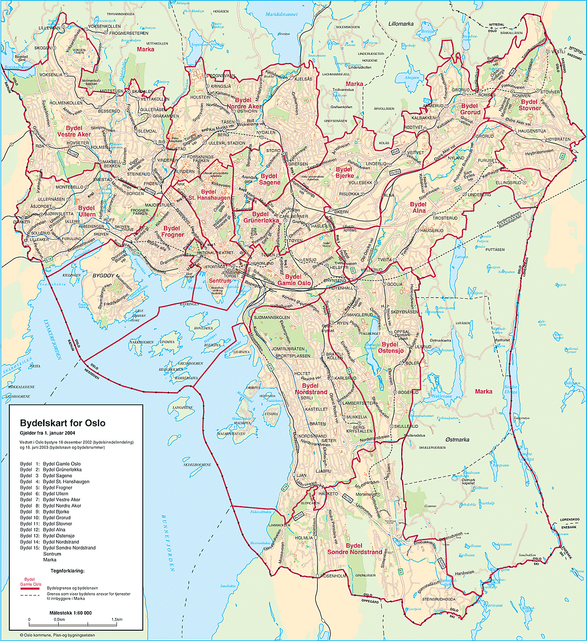 Large detailed neighborhood map of Oslo city Oslo city large