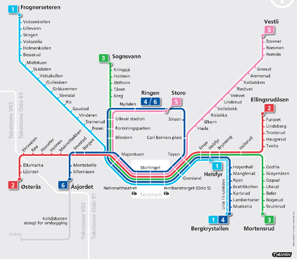 Large detailed subway map of Oslo city.