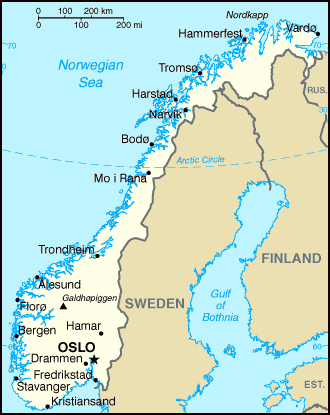 Small political map of Norway. Norway small political map.