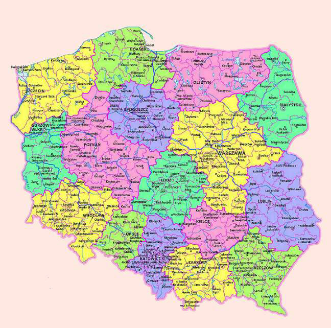 Administrative map of Poland. Poland administrative map.