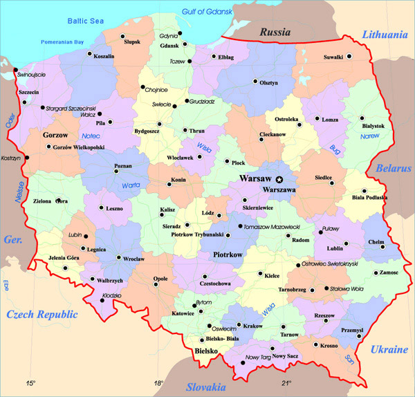 Detailed administrative map of Poland. Poland detailed administrative map.