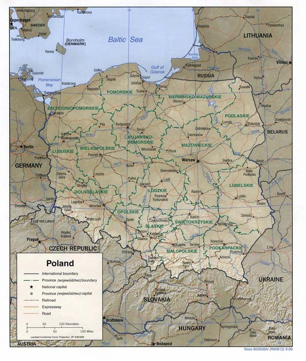 Detailed road and administrative map of Poland.