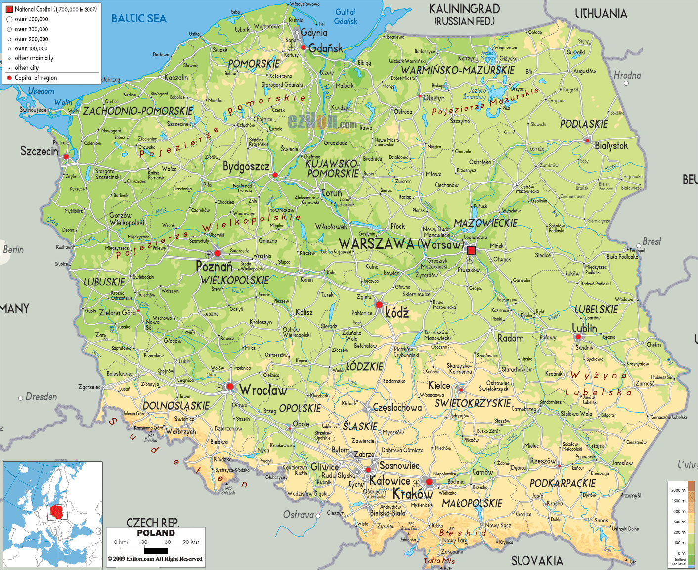 Large detailed physical map of Poland with all cities roads and