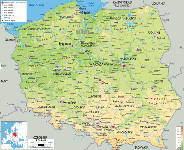 Large detailed physical map of Poland with all cities, roads and airports.
