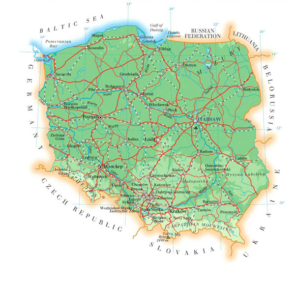 Large detailed physical map of Poland with cities, roads and airports.