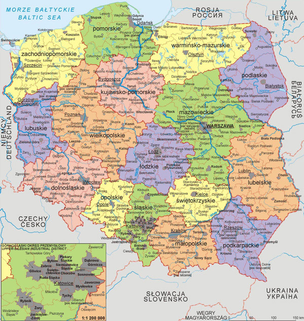 Large detailed political and administrative map of Poland.
