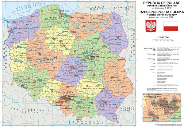 Large detailed political and administrative map of Poland with all cities and roads.