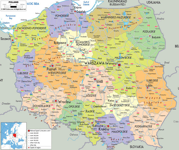 Large detailed political and administrative map of Poland with all cities, roads and airports.