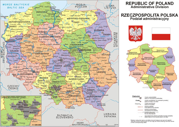 Large detailed political and administrative map of Poland with cities.