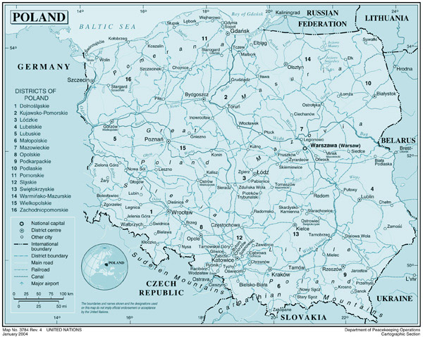 Large detailed political map of Poland. Poland large detailed political map.
