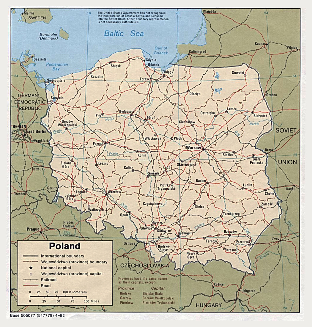 Large detailed political map of Poland with cities highways and