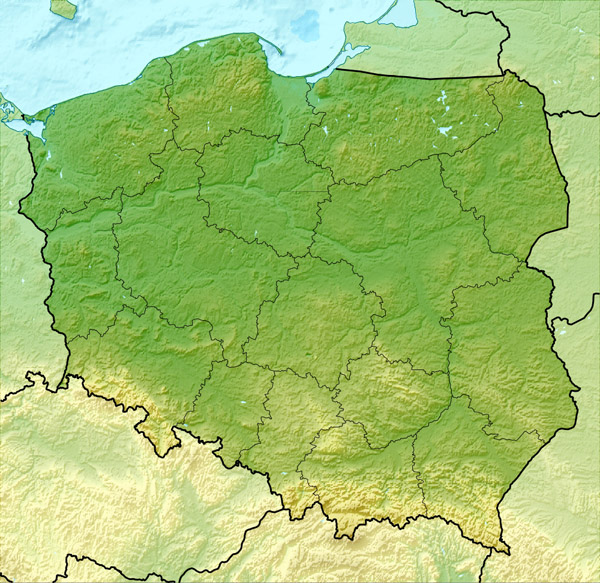 Large detailed relief map of Poland. Poland large detailed relief map.