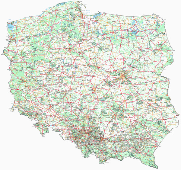 Large detailed road and highways map of Poland with all cities and villages.