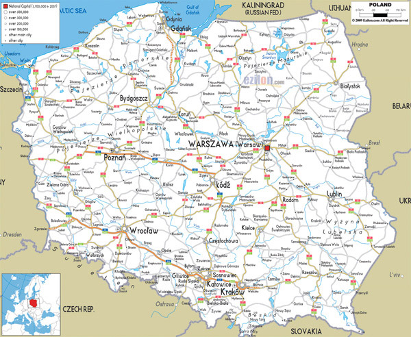 Large detailed road map of Poland with all cities and airports.
