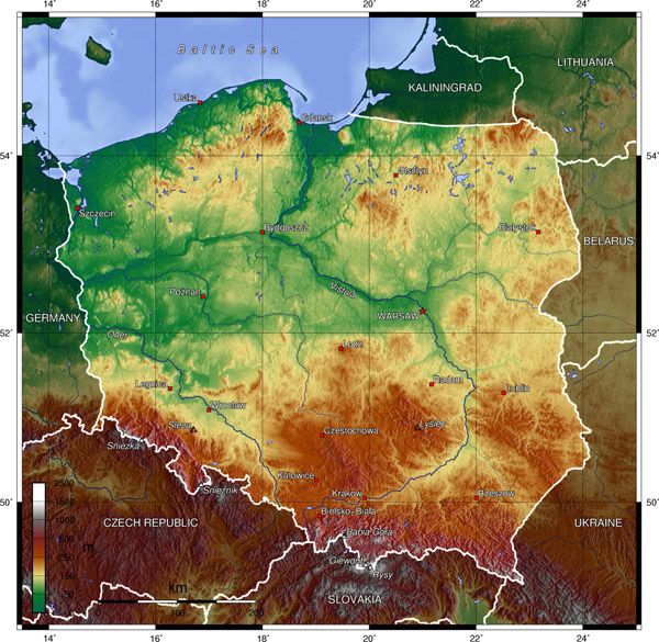 Large detailed topographical map of Poland.