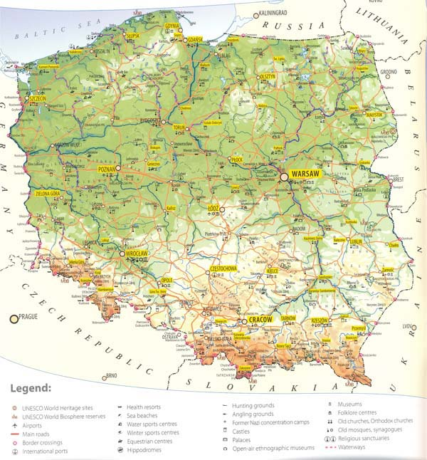 Large detailed tourist map of Poland. Poland large detailed tourist map.