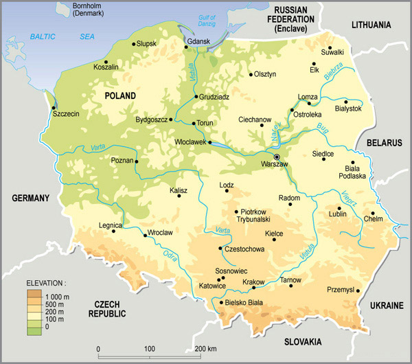 Physical map of Poland. Poland physical map.