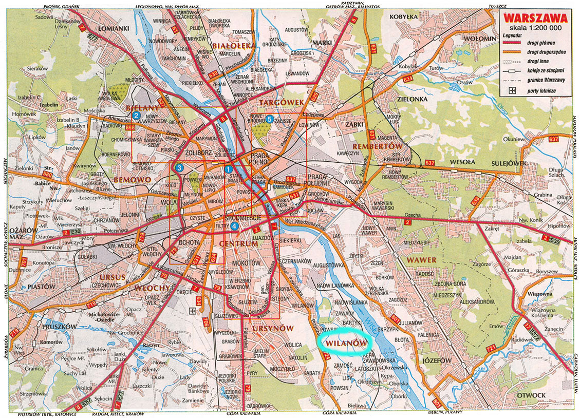 Large road map of Warsaw city. Warsaw city large road map ...