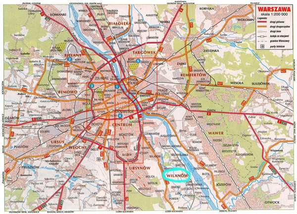Large road map of Warsaw city. Warsaw city large road map.
