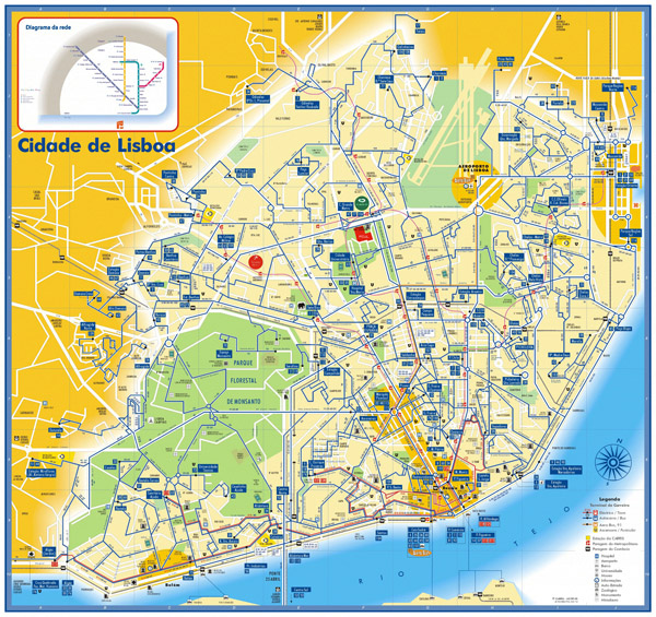 Detailed bus, tram and metro map of Lisbon.
