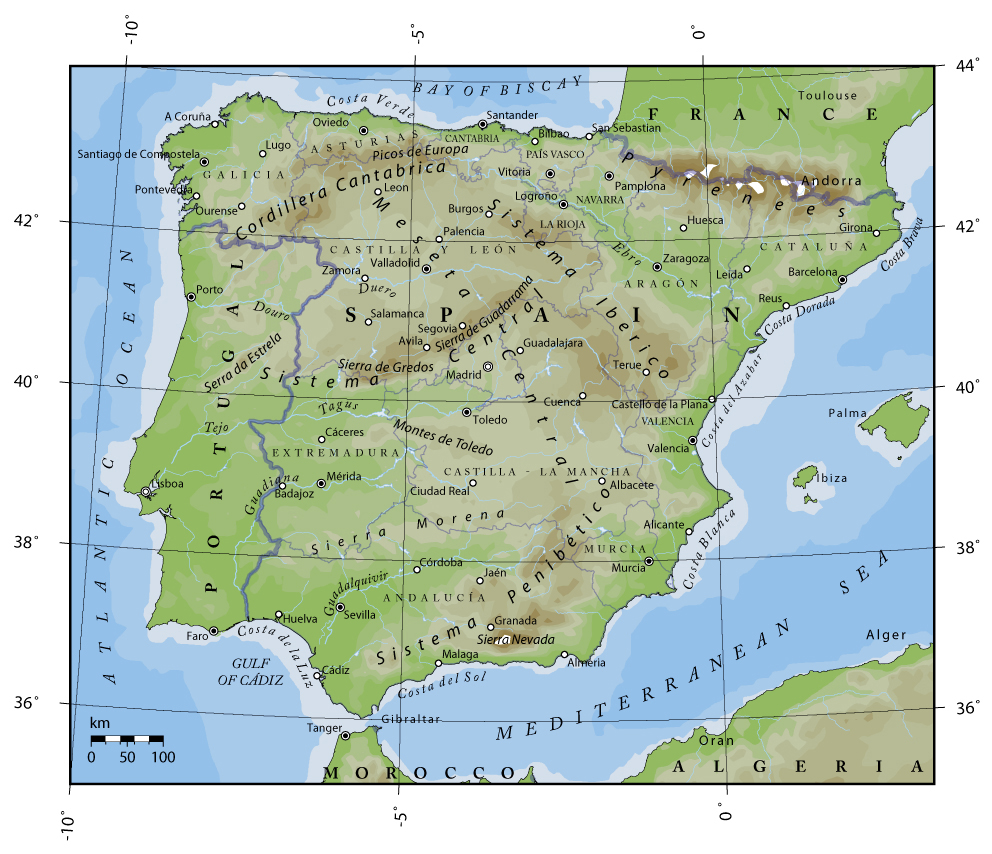 detailed physical map of portugal and spain portugal and spain