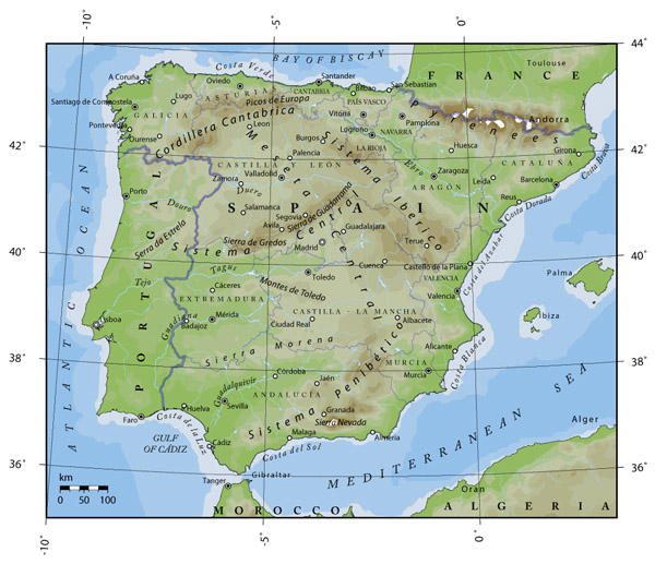 Detailed physical map of Portugal and Spain.