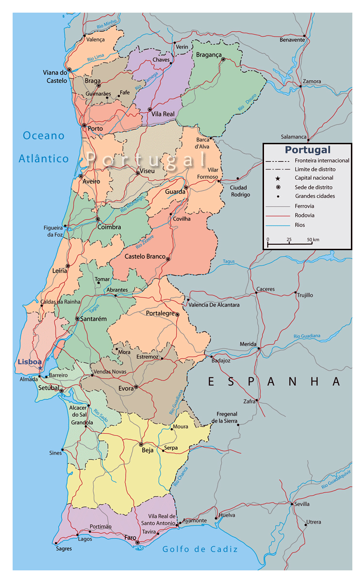Detailed Political And Administrative Map Of Portugal With Major - Portugal beja map